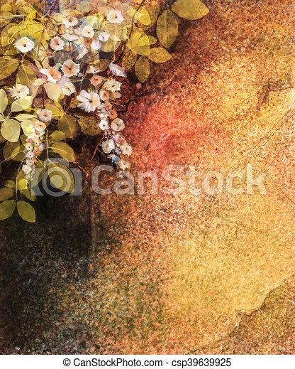 painting., kwiat, liść, barwiony, abstrakcyjny, ściana, żółty, ręka, akwarela, struktura, tło, biały, grunge, kwiaty, bluszcz, czerwony - csp39639925