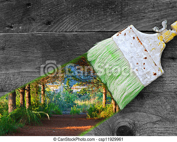 Painting nature on old wooden boards - csp11929961