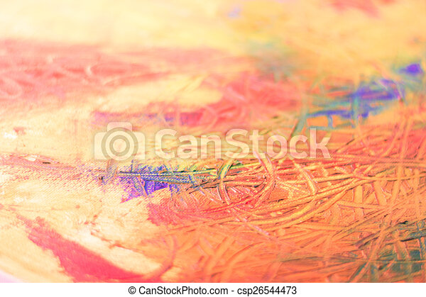 Painting Of Abstract Mix Oil Colors On Canvas