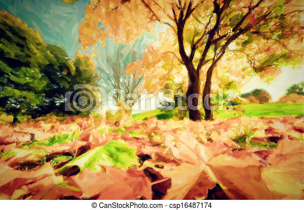 Painting of autumn, fall landscape in park - csp16487174