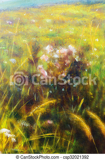 Painting On Canvas Of A Vibrant Spring Meadow Full Wild Colorful Flowers In The Bright