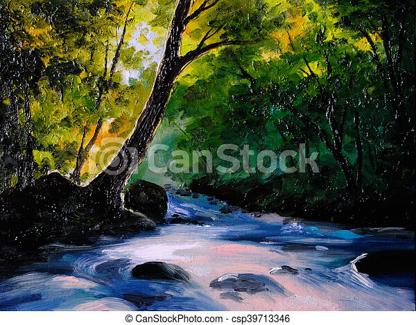 Painting Picture Oil Painting On A Canvas Landscape Mountain River Abstract Drawing Watercolor Painting