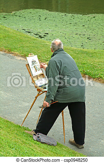 painting picture outdoors - csp0948250