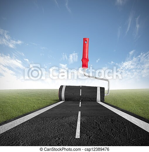 Painting the road - csp12389476