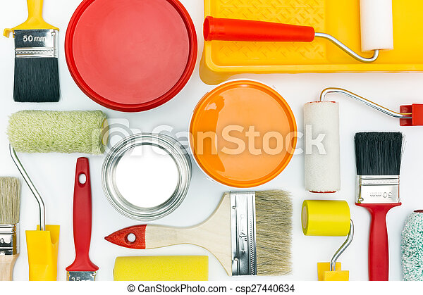 painting tools on white background - csp27440634
