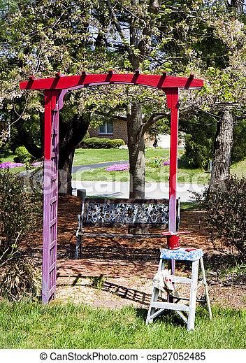 Painting Trellis in Garden Red - csp27052485