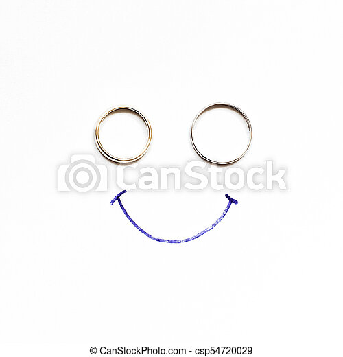 Painting with a smile of two wedding rings, written by the bride - csp54720029