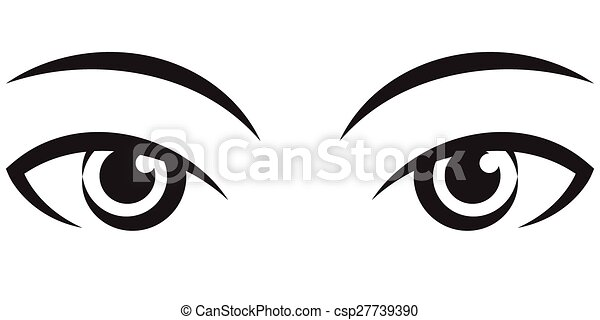 pair female expressive eyes vector icon pair female expressive