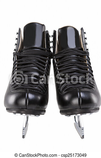 pair of black professional figure skates with sharp blades over