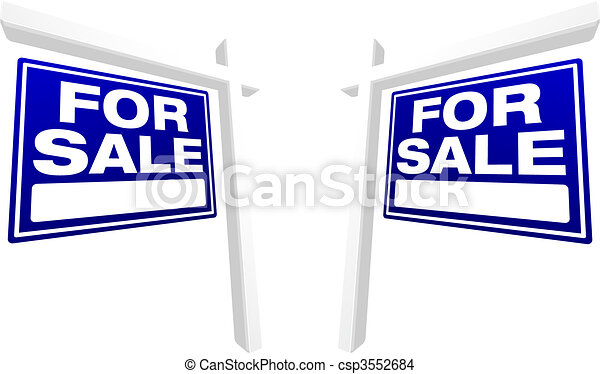 Pair of Blue For Sale Real Estate Signs - csp3552684
