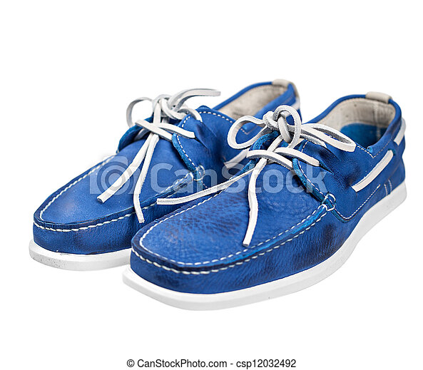 Pair of blue male shoes with white laces isolated on white background - csp12032492