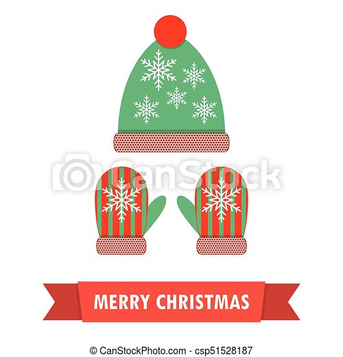 pair of christmas mittens and winter hat vector illustration - Christmas Mittens