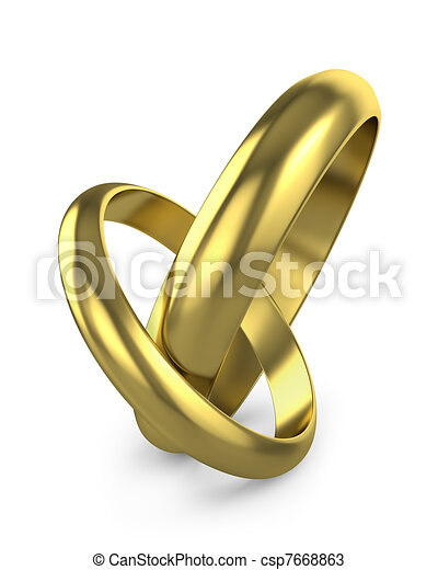 Pair of connected wedding rings isolated on white background