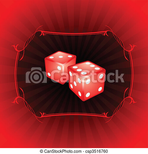 Pair of dice on decorative background - csp3516760