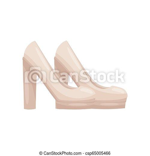 Pair of elegant female shoes high heels. Casual women footwear. Fashion theme. Flat vector design - csp65005466
