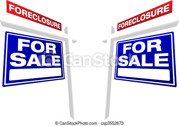 Pair of Foreclosure For Sale Real Estate Signs - csp3552673