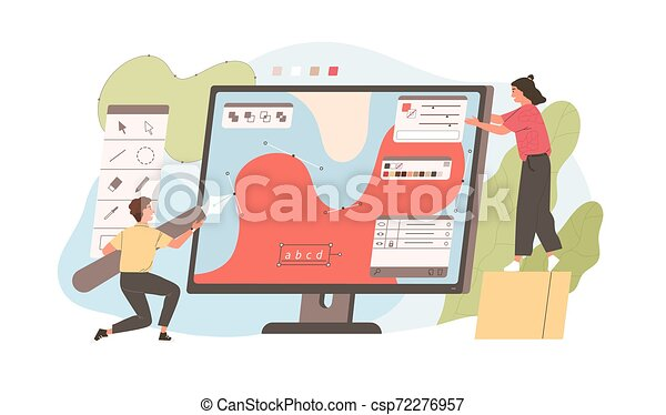 Pair of funny young man and woman drawing with pen in graphic editor. Cute digital designers or illustrators working together on giant computer display. Flat cartoon colorful vector illustration. - csp72276957