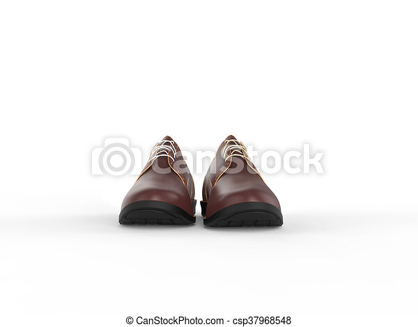 Pair of oxford light brown shoes , front view