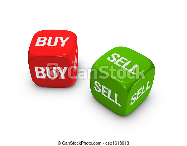 pair of red and green dice with buy, sell sign - csp1618913