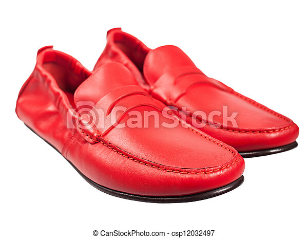 Pair Of Red Leather Male Shoes Isolated On White Background