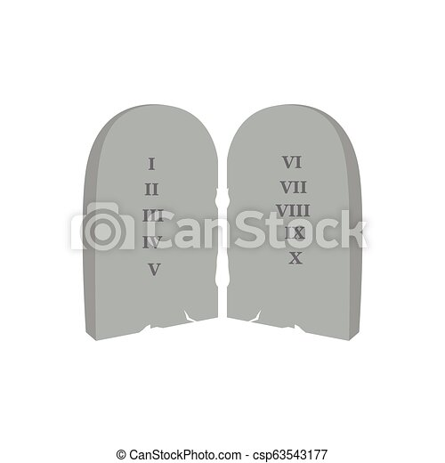 Pair of stones with laws. Christian object - csp63543177