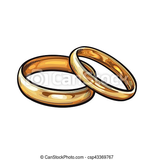 Matching Wedding Rings For Bride And Groom.Pair Of Traditional Golden Wedding Rings For Bride And Groom