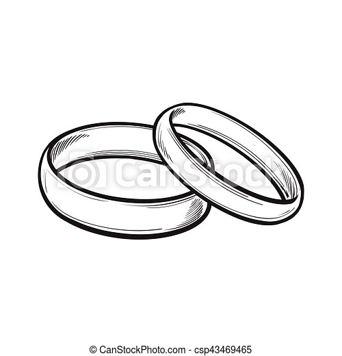 Pair Of Traditional Wedding Rings For Bride And Groom Vector