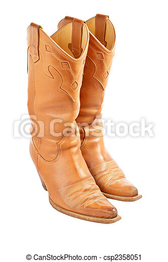 pair of used cowboy boots isolated