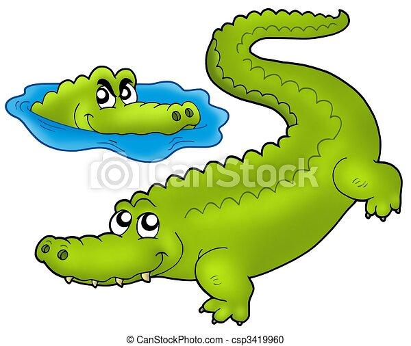 Paire crocodiles dessin anim illustration couleur crocodiles paire dessin anim - Dessin anime les crocodiles ...