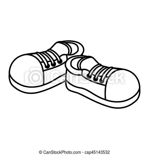 paire, monochrome, chaussures sport, contour , csp45143532