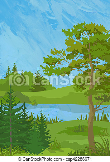 paisagem, árvores, lago - csp42286671