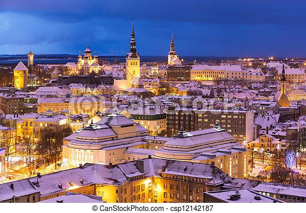 paisagem, aéreo, inverno, estónia, tallinn, noturna - csp12142187