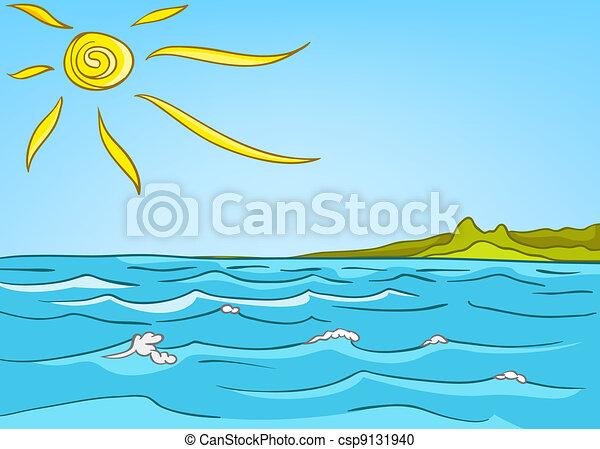 paisagem, caricatura, mar, natureza - csp9131940