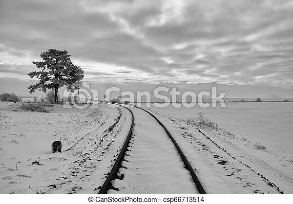 paisagem., inverno, pista, tcheco, único, república, estrada ferro - csp66713514