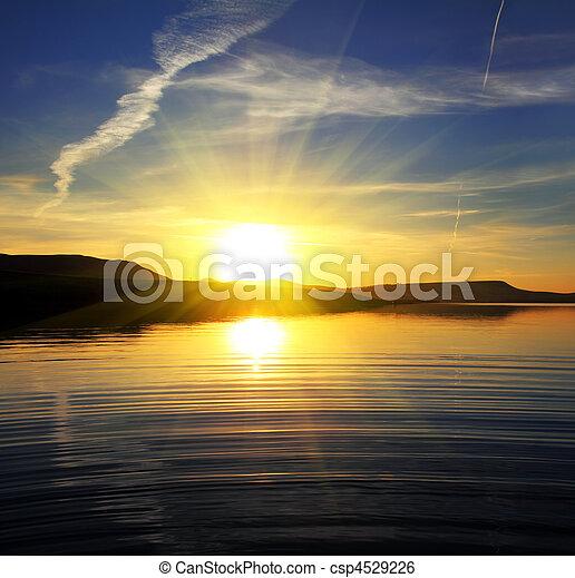 paisagem, lago, amanhecer, manhã - csp4529226