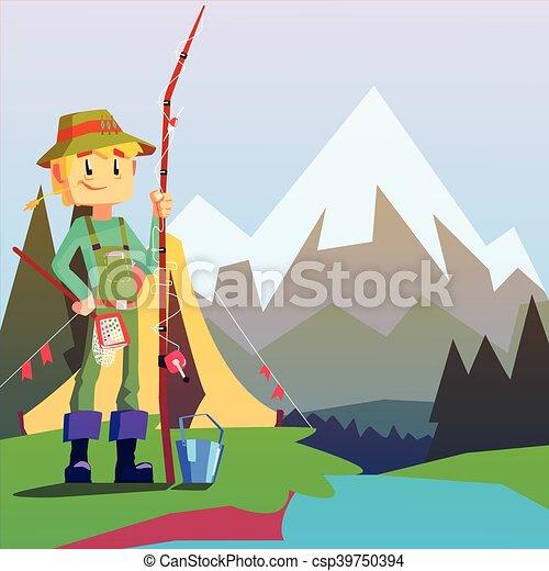 Paisagem Montanha Pescador Fundo Acampamento Montanha