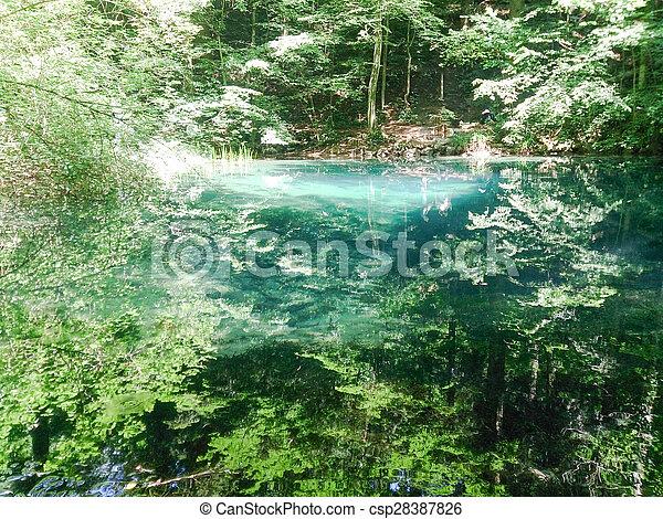 paisagem natureza, árvores, river., floresta, rio, montanhas - csp28387826