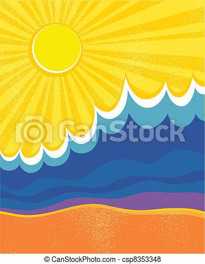 paisagem., poster., ilustração, vetorial, mar, ondas - csp8353348