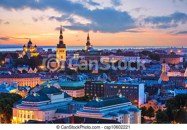 paisagem, tallinn, noite, estónia - csp10602221