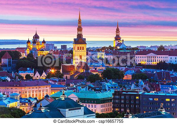 paisagem, tallinn, noite, estónia - csp16657755