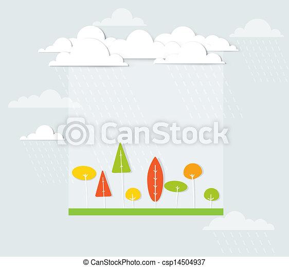 Paisaje con árboles bajo la lluvia - csp14504937
