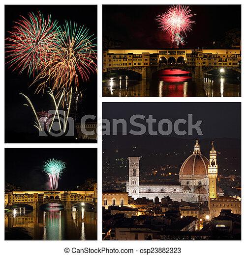 paisaje, ciudad, collage, fuegos artificiales, -, asombroso, florencia - csp23882323