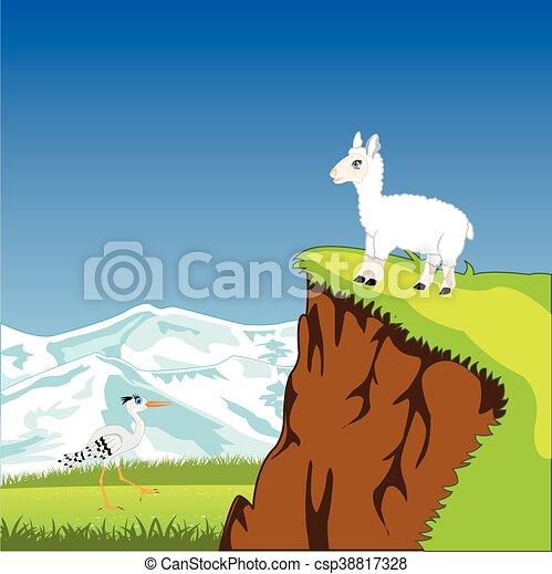 Un paisaje de montaña con animales - csp38817328