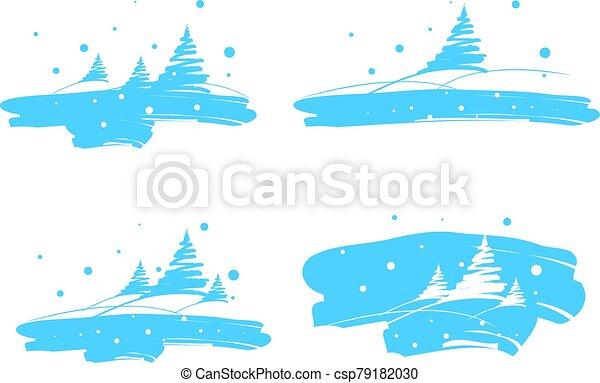 paisaje, dibujo, invierno, cepillo - csp79182030