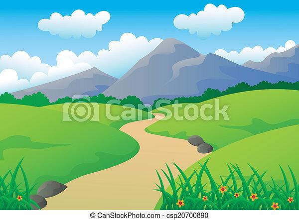 Hermoso paisaje con montaña, - csp20700890