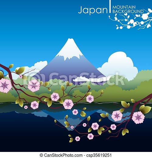 Paisaje japonés con fuji montaña. - csp35619251