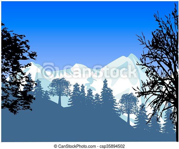 Un paisaje salvaje con montañas - csp35894502