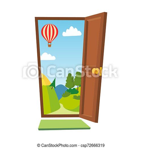 Abre la puerta. Paisaje de dibujos animados. Vista frontal. Ilustración aislada plana. - csp72666319