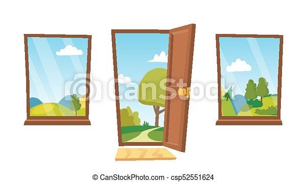 Abre Puertas Y Ventanas Vector Paisaje De Dibujos Animados Vista Frontal Interior Ilustración Aislada Plana Puerta Canstock