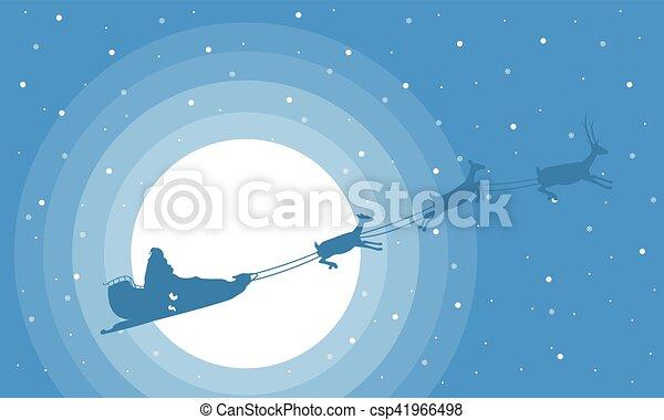 El paisaje navideño entrena a Santa en el cielo - csp41966498